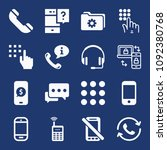 set of 16 phone filled icons... | Shutterstock .eps vector #1092380768