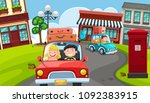 tourist drive around the town... | Shutterstock .eps vector #1092383915