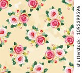 seamless floral pattern with... | Shutterstock .eps vector #1092399596