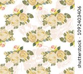 seamless floral pattern with... | Shutterstock .eps vector #1092403406