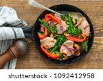 sichuan pork  broccoli  red... | Shutterstock . vector #1092412958