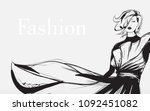 black and white retro fashion... | Shutterstock .eps vector #1092451082