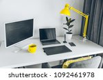 workplace. white desk with... | Shutterstock . vector #1092461978