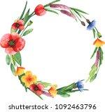 watercolor floral wreath | Shutterstock . vector #1092463796