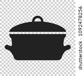 cooking pan icon in flat style. ... | Shutterstock .eps vector #1092478256