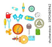 auto spare parts icons set in... | Shutterstock .eps vector #1092483962