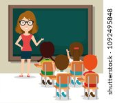 woman teacher with students in... | Shutterstock .eps vector #1092495848