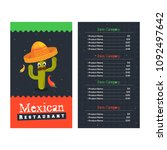 mexican menu for restaurant and ... | Shutterstock .eps vector #1092497642