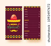mexican menu for restaurant and ... | Shutterstock .eps vector #1092497672
