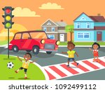 kids crossing road with red car ... | Shutterstock .eps vector #1092499112