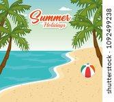 beach seascape beautiful scene   Shutterstock .eps vector #1092499238