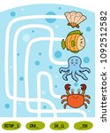 maze game for children. find... | Shutterstock .eps vector #1092512582