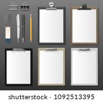 set of realistic clipboards... | Shutterstock .eps vector #1092513395