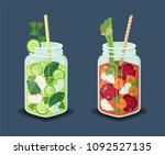 detox energetic cocktails set ...   Shutterstock .eps vector #1092527135