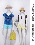 two mannequin in female shirt... | Shutterstock . vector #1092528422
