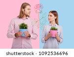 loving plants. romantic young...   Shutterstock . vector #1092536696