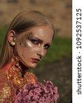 halloween woman with flowers ... | Shutterstock . vector #1092537125