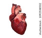 16 bit or 8 bit red pixel art... | Shutterstock .eps vector #1092538532