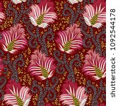 colorful floral seamless vector ... | Shutterstock .eps vector #1092544178