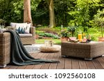 close up of rattan table with... | Shutterstock . vector #1092560108