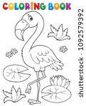 coloring book flamingo theme 2  ... | Shutterstock .eps vector #1092579392