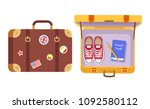 suitcases set  traveler's... | Shutterstock .eps vector #1092580112