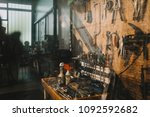 a vintage workspace for... | Shutterstock . vector #1092592682