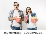 young shocked couple  woman and ... | Shutterstock . vector #1092598298
