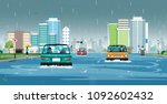 cars are running on flooded... | Shutterstock .eps vector #1092602432