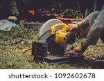 close up of welder with welding ... | Shutterstock . vector #1092602678