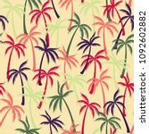 coconut palm tree pattern... | Shutterstock .eps vector #1092602882