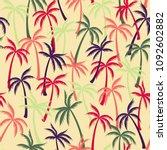 coconut palm tree pattern... | Shutterstock .eps vector #1092602882