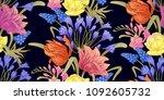 spring flowers. flower vintage... | Shutterstock .eps vector #1092605732