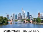 frankfurt on main skyline in... | Shutterstock . vector #1092611372