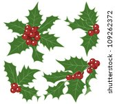 christmas holly  isolated on... | Shutterstock .eps vector #109262372