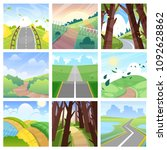 road landscape vector roadway... | Shutterstock .eps vector #1092628862