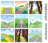 road landscape vector roadway... | Shutterstock .eps vector #1092628862