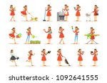 mother holding baby in arms... | Shutterstock .eps vector #1092641555