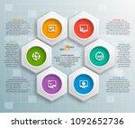 vector abstract 3d paper... | Shutterstock .eps vector #1092652736