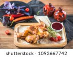 grilled chicken  vegetables and ... | Shutterstock . vector #1092667742