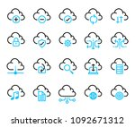 simple set of computer cloud... | Shutterstock .eps vector #1092671312