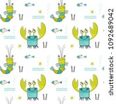 seamless vector pattern with... | Shutterstock .eps vector #1092689042