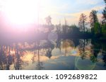 beautiful dawn over the forest...   Shutterstock . vector #1092689822