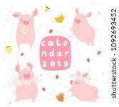creative calendar cover 2019... | Shutterstock .eps vector #1092693452