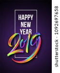 2019 new year of a colorful... | Shutterstock .eps vector #1092697658