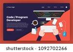 mock up design website flat...   Shutterstock .eps vector #1092702266