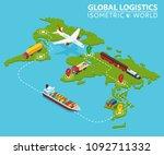 global logistic isometric... | Shutterstock . vector #1092711332