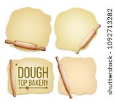 dough set vector. wooden... | Shutterstock .eps vector #1092713282