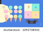 ice cream scoops in waffle... | Shutterstock .eps vector #1092738542
