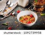 homemade granola from mix of... | Shutterstock . vector #1092739958
